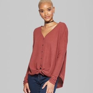 NEW Button Front Waffle Knit Thermal Top